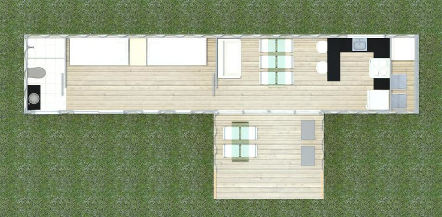 CASA MODULAR EFICIENTE - BOX 40' – móduloII: Casas  por SustentARQ Studio
