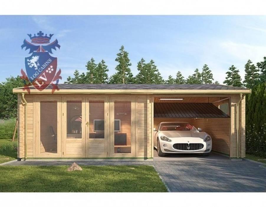 Deluxe Timber Garage shedking クラシックデザインの ガレージ・物置