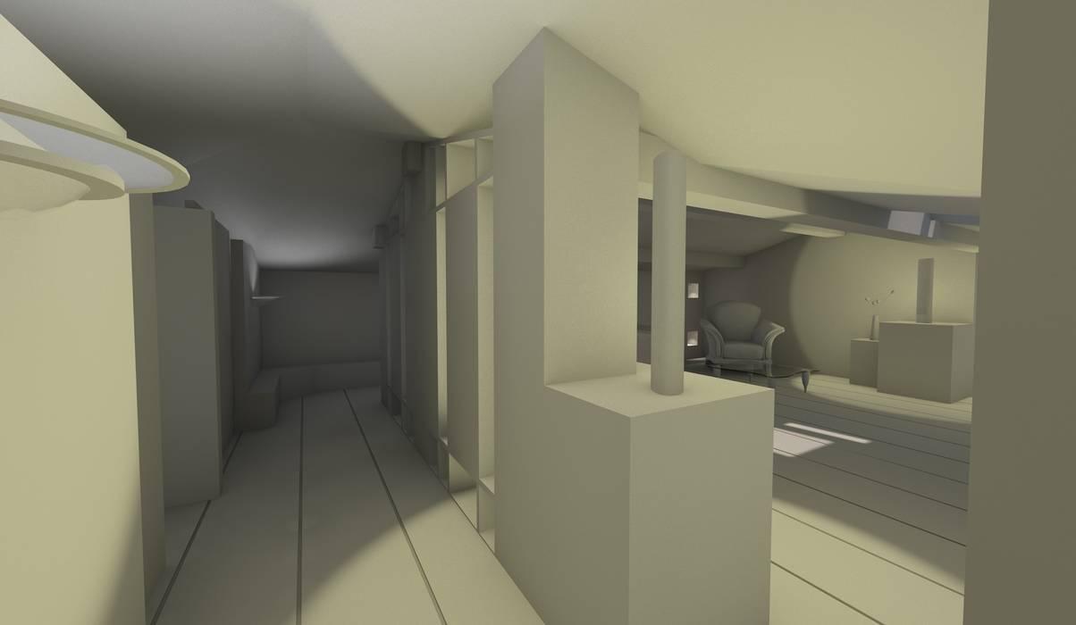 Vue depuis l'entrée: Salon de style de style Moderne par AeA - Architecture Eric Agro
