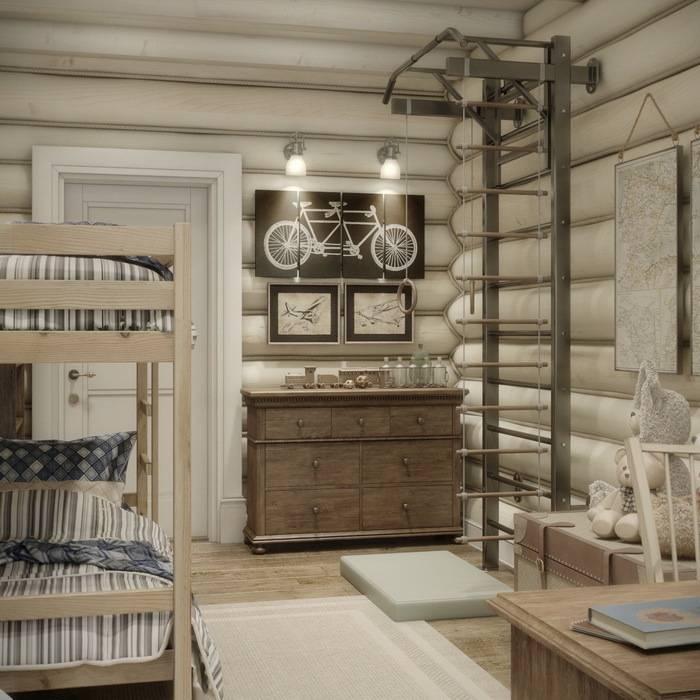 Дизайн интерьера дома в п.Зеленое MJMarchdesign Детская комнатa в рустикальном стиле