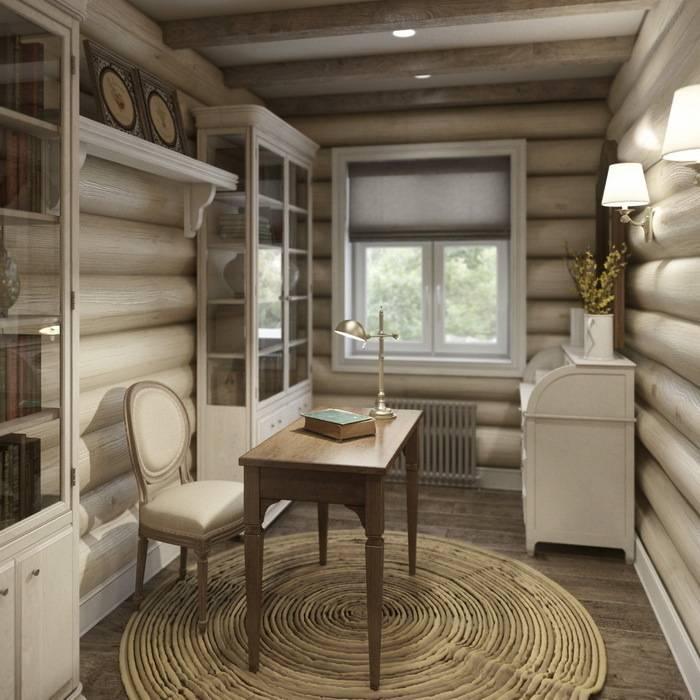 Дизайн интерьера дома в п.Зеленое MJMarchdesign Рабочий кабинет в рустикальном стиле