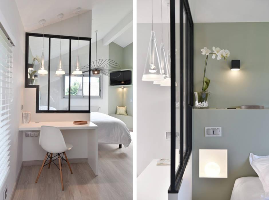Aménagement et décoration d'une maison à Genève: Chambre de style  par Marion Lanoë Architecte d'Intérieur, Moderne