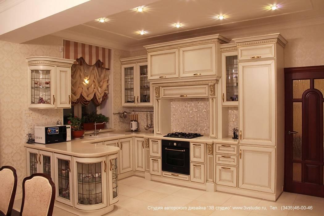 совмещенная гостиная кухня и столовая в классическом стиле кухни в