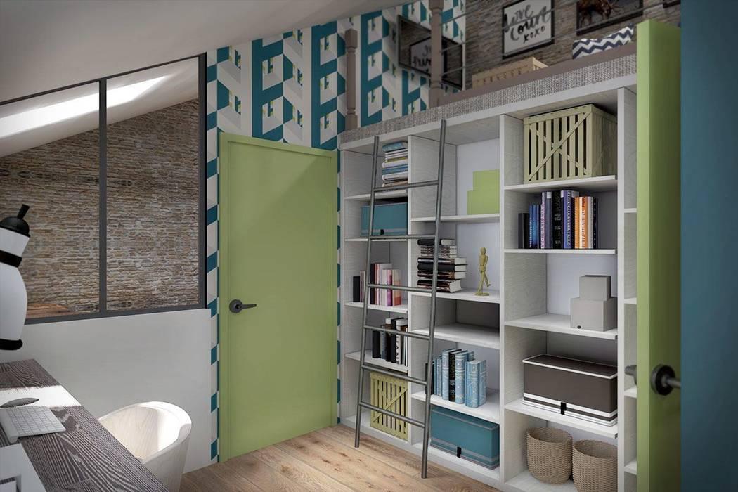 3 этаж: рабочий кабинет, мастерская, антресольный этаж с комнатой отдыха: Рабочие кабинеты в . Автор – Дизайн-студия HOLZLAB