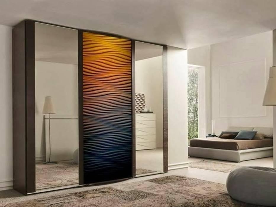 Panele 3D jako fronty meblowe Nowoczesna garderoba od Luxum Nowoczesny