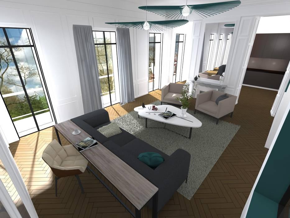 Salon haussmannien contemporain: Salon de style de style Moderne par A.S Garde architecte d'intérieur