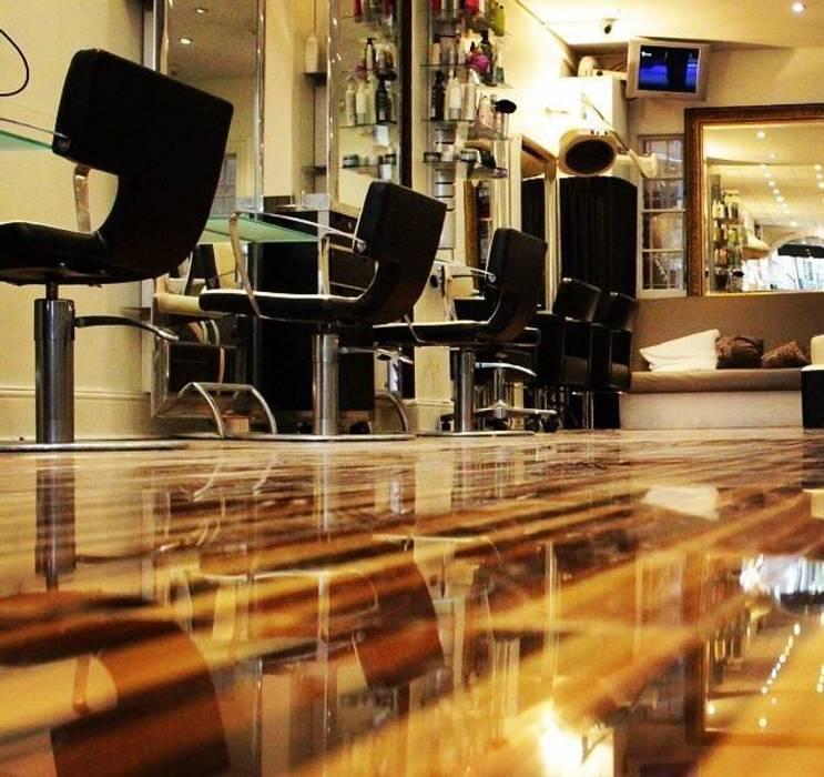 Upmarket St Johns Wood hair salon installs Designer Stripes:  Walls by Floorless Floors Ltd, Mediterranean