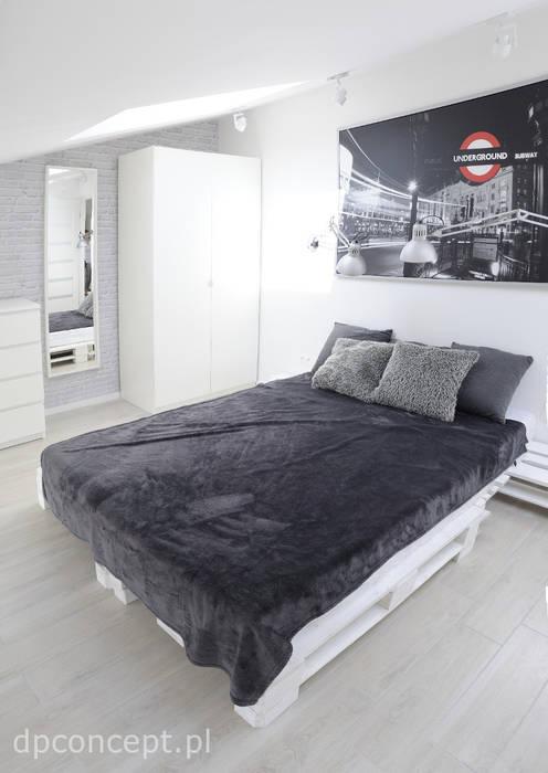 Część wypoczynkowa pokoju studenckiego DP Concept Skandynawska sypialnia Szary