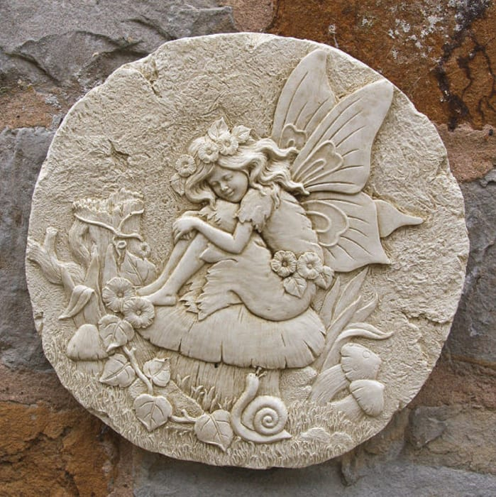 Round Fairy wall plaque Marble Inspiration Garden Accessories & decoration
