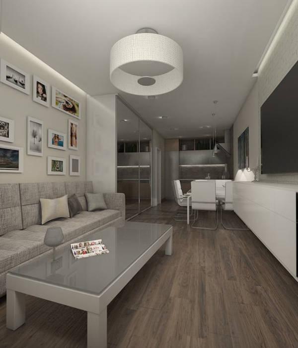 Вид гостиной,совмещенной с кухней Pure Design Гостиная в стиле минимализм