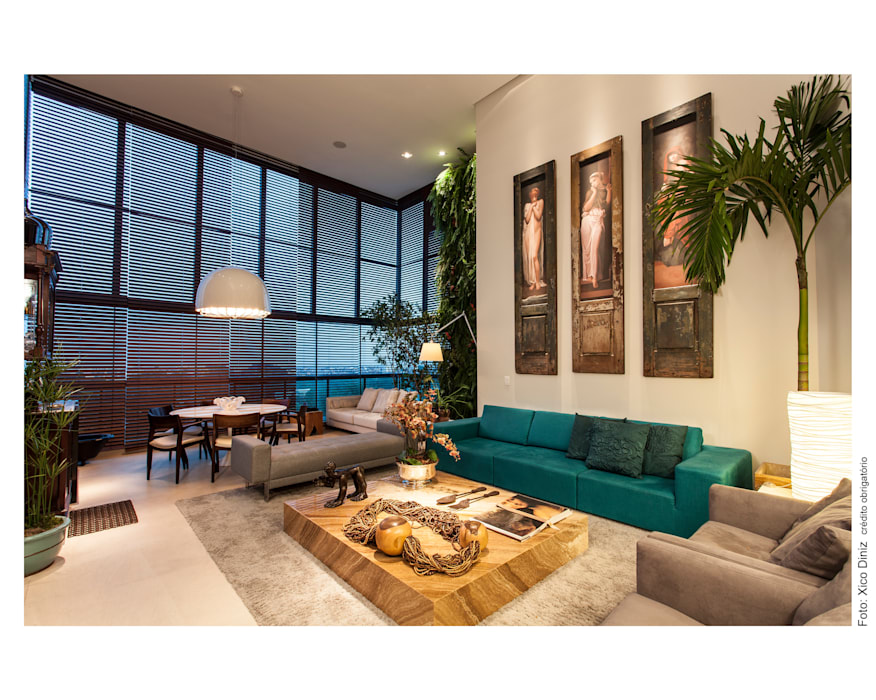 Sala de Estar integrada a varanda Salas de estar ecléticas por Arquitetura 3 Eclético