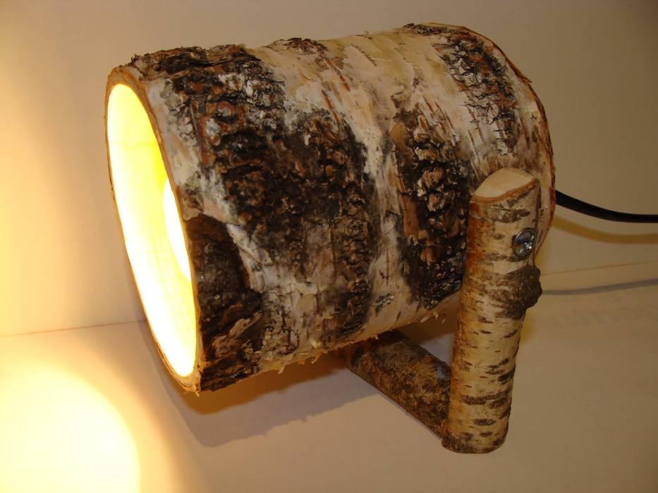 Spot Light with a birch bark-nature - wood lamp Jochens-Elch-O-Thek Living roomLighting Wood Grey