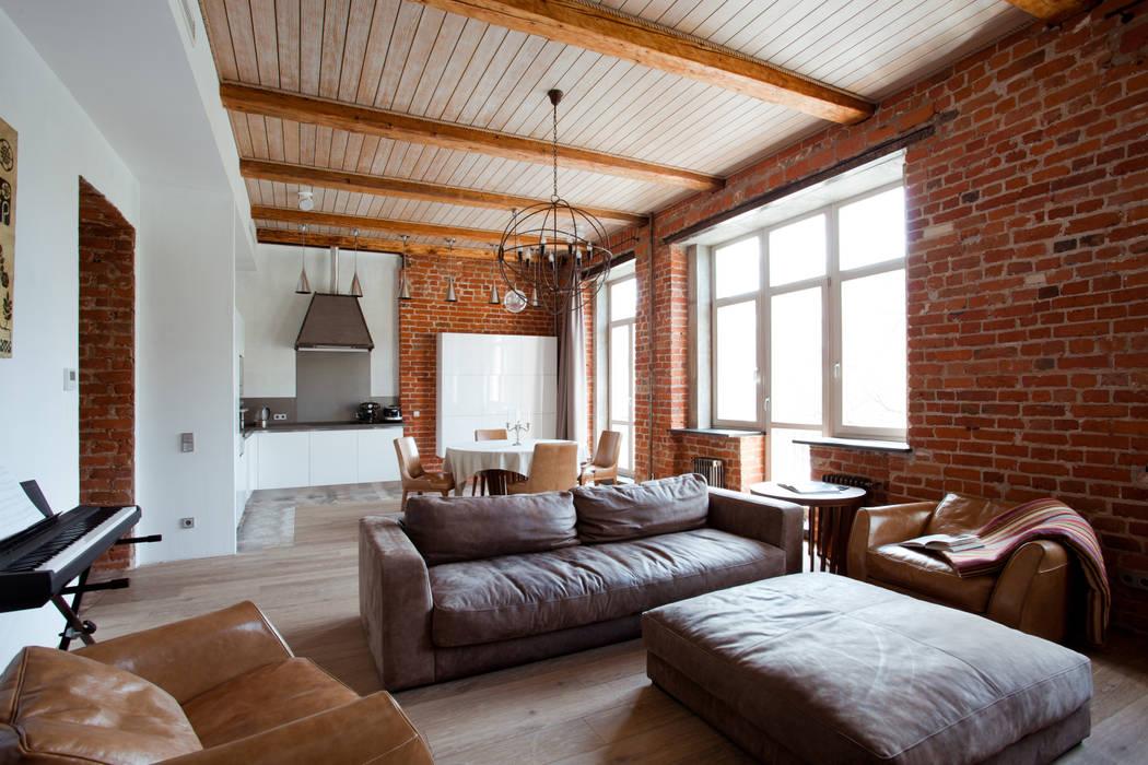 Частная квартира, г. Москва, ул. Большой Кисловский переулок (м. Арбат/Боровицкая) Дизайн-студия интерьера 'ART-B.O.s' Гостиная в стиле лофт