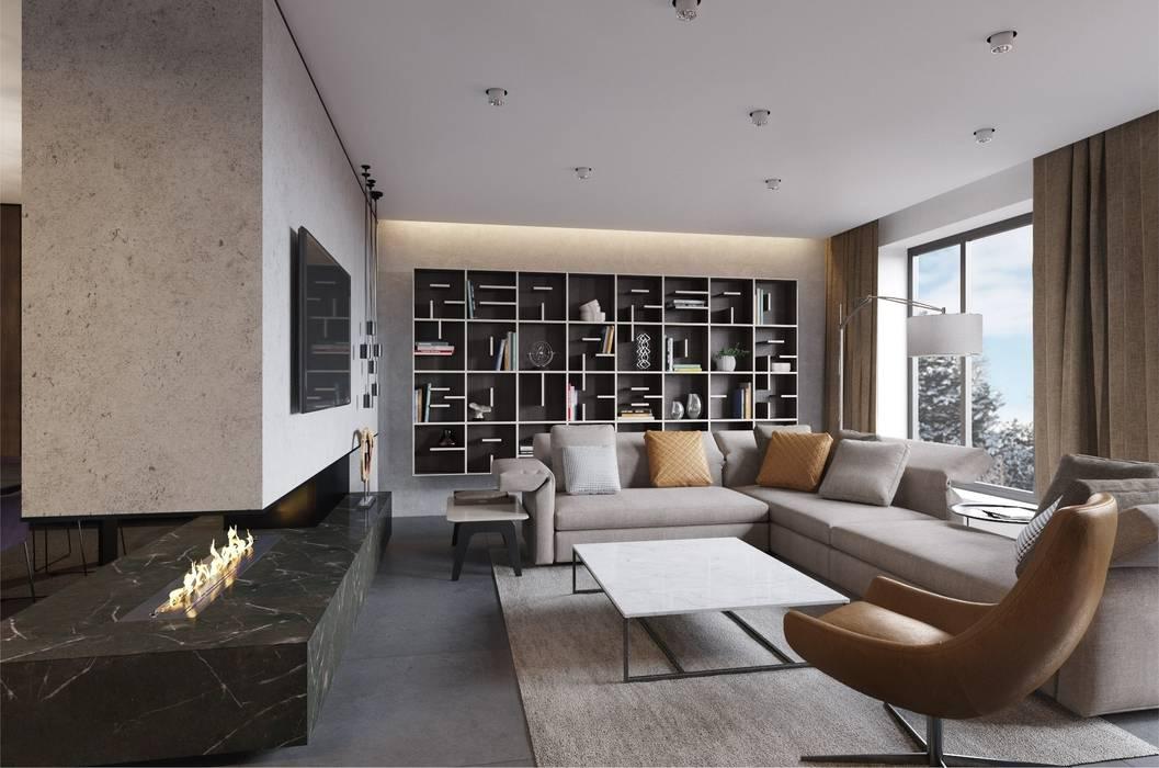 3D проект интерьера гостиной ,кухни и столовой зоны в загородном доме.: Гостиная в . Автор – Aleksandra  Kostyuchkova