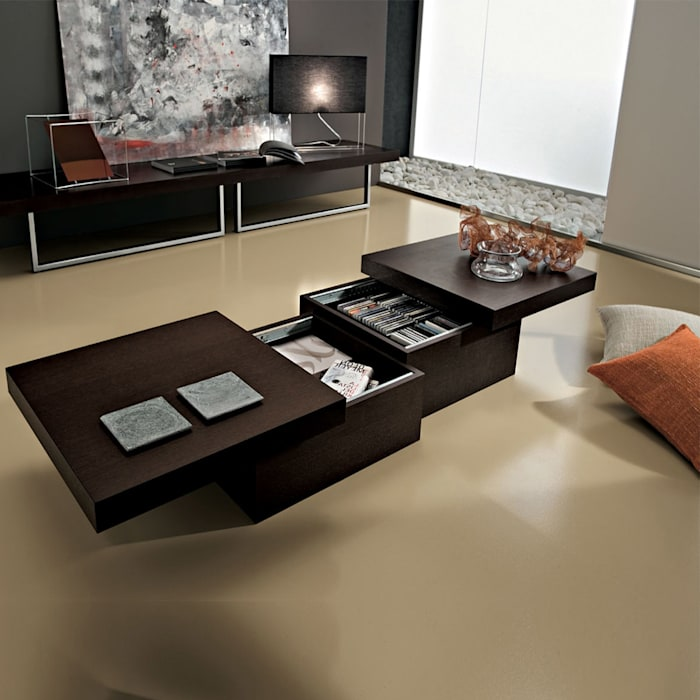 'Asia' Rectangular coffee table with storage by La Primavera homify Living roomSide tables & trays