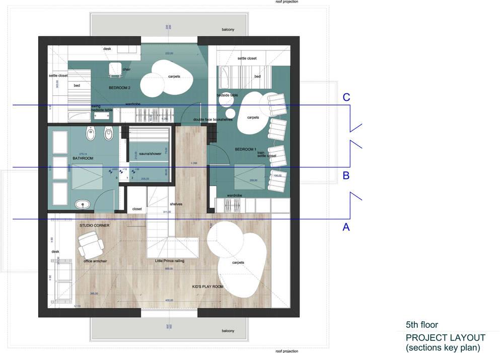 Piano sottotetto - Kid's floor: Stanza dei bambini in stile in stile Moderno di valentina bandera STUDIO