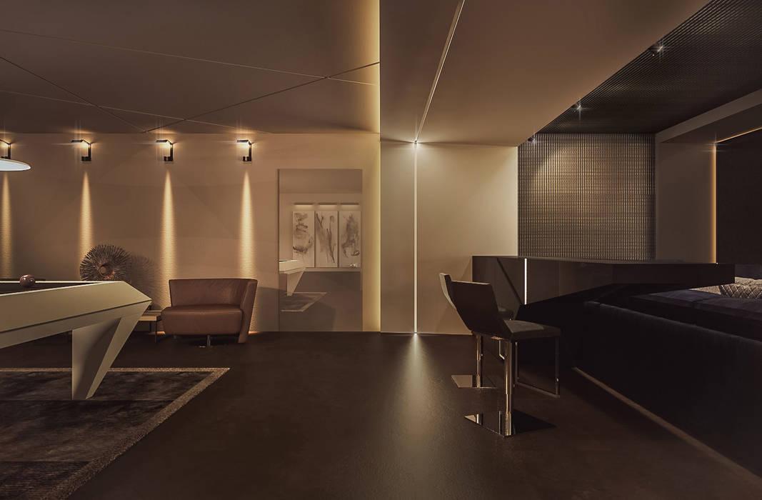 Коттедж в Москве. Кинотеатр - билльярдная Медиа комната в стиле минимализм от Дизайн - студия Пейковых Минимализм