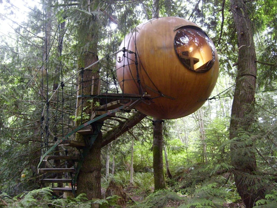 Free Spirit Spheres: need we say more?:  Hotels door TreeGo Boomhut Bouwers