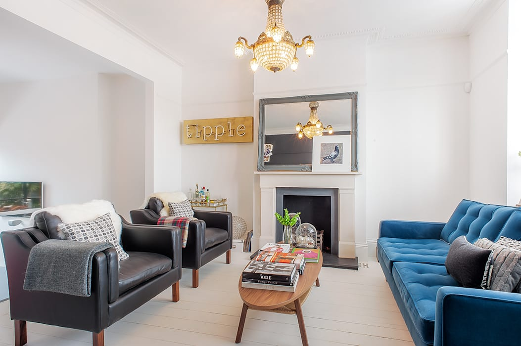 Full House Renovation with Crittall Extension, London Salas de estar ecléticas por HollandGreen Eclético