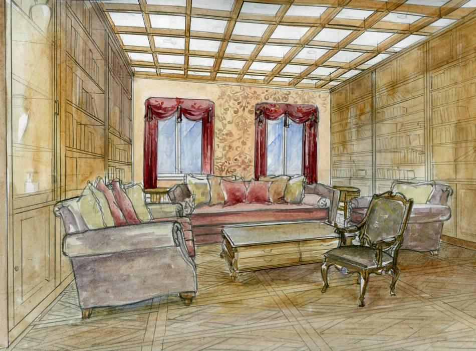 библиотека: Гостиная в . Автор – Территория Дизайна