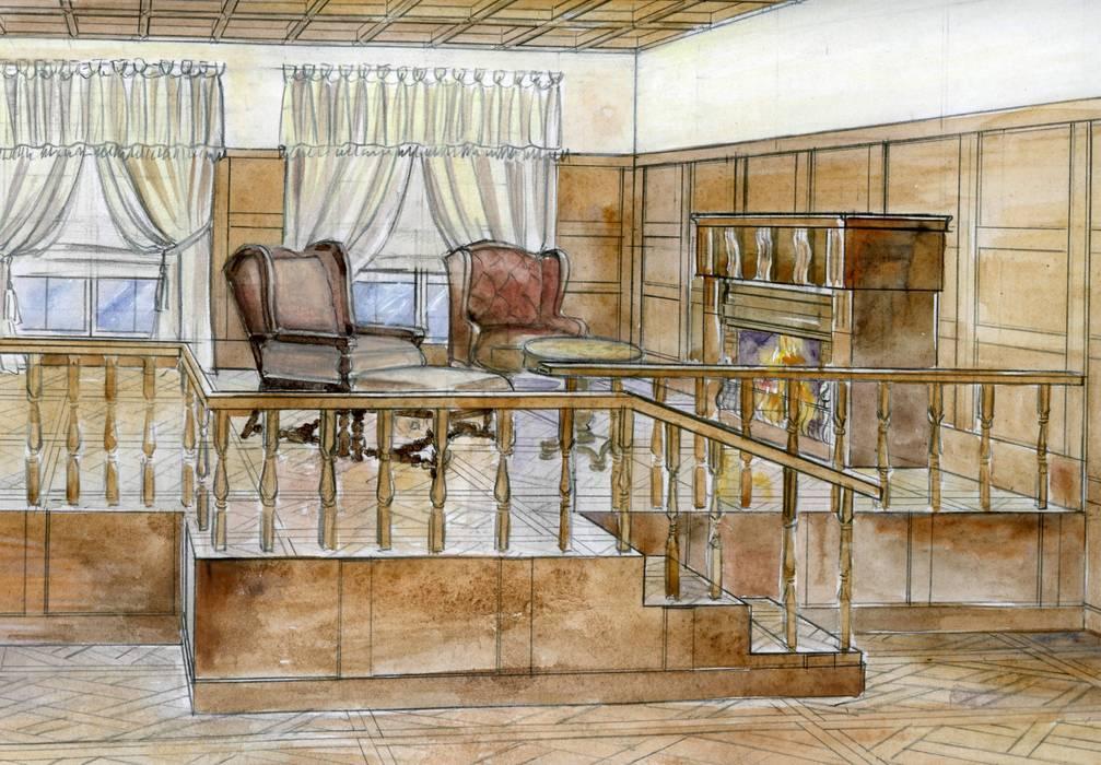 Каминная зона в гостиной: Гостиная в . Автор – Территория Дизайна