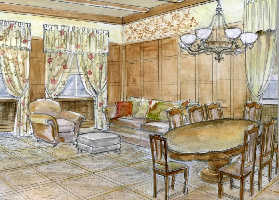 Столовая зона в гостиной: Гостиная в . Автор – Территория Дизайна