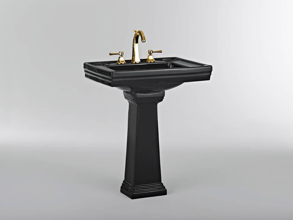 Black pedestal basin wheat paste