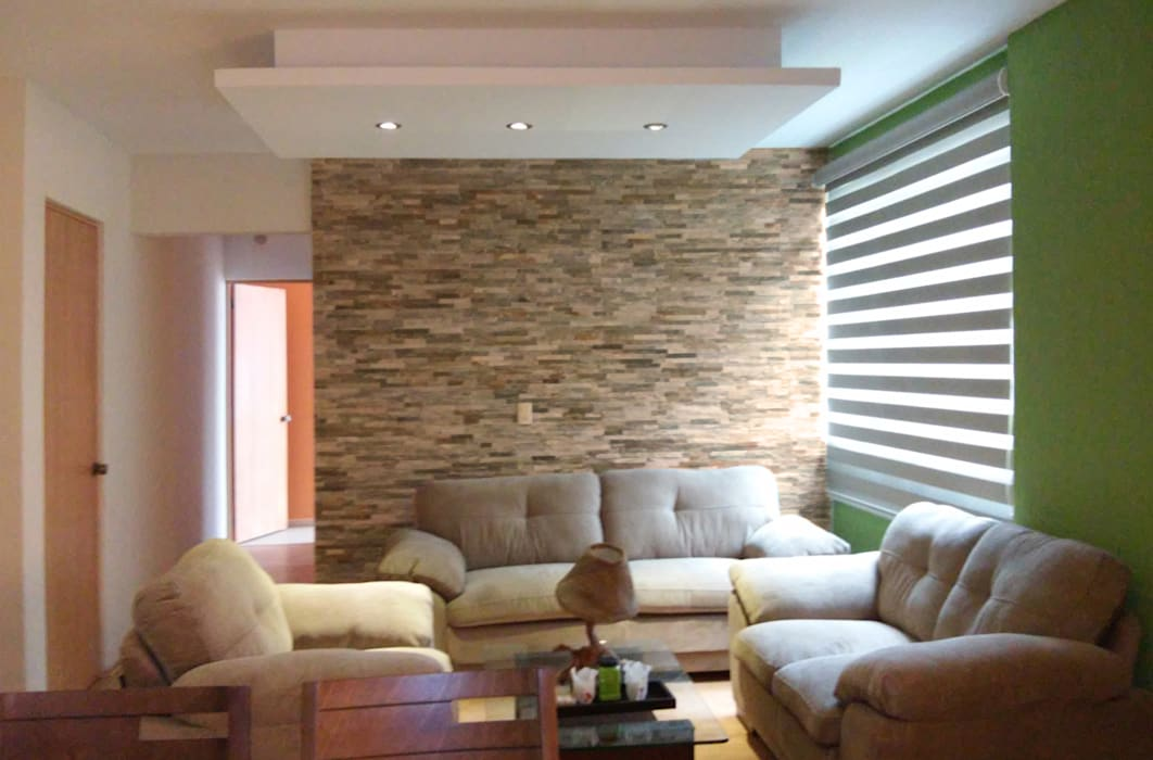 Diseño de departamentos pequeños México DF. Paredes y pisos de estilo mediterráneo de Claire Concepto Mediterráneo