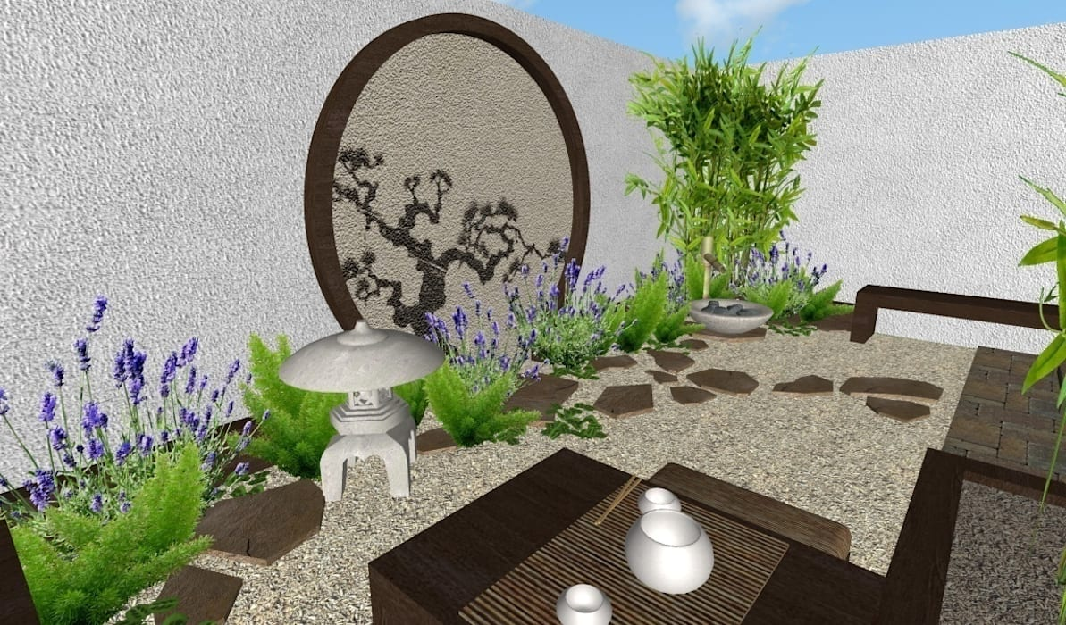 Jardin oriental vista hacia la fuente: jardines de estilo ...