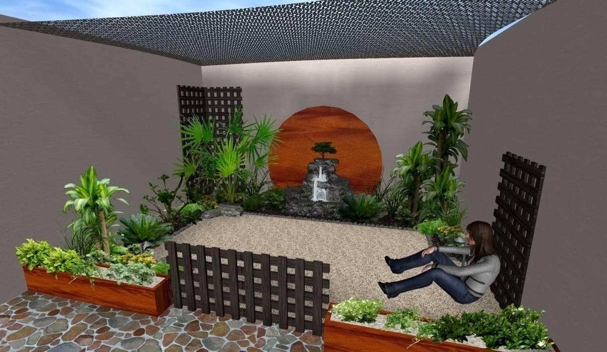 patio tropical con mallasombra Zen Ambient Jardines rústicos