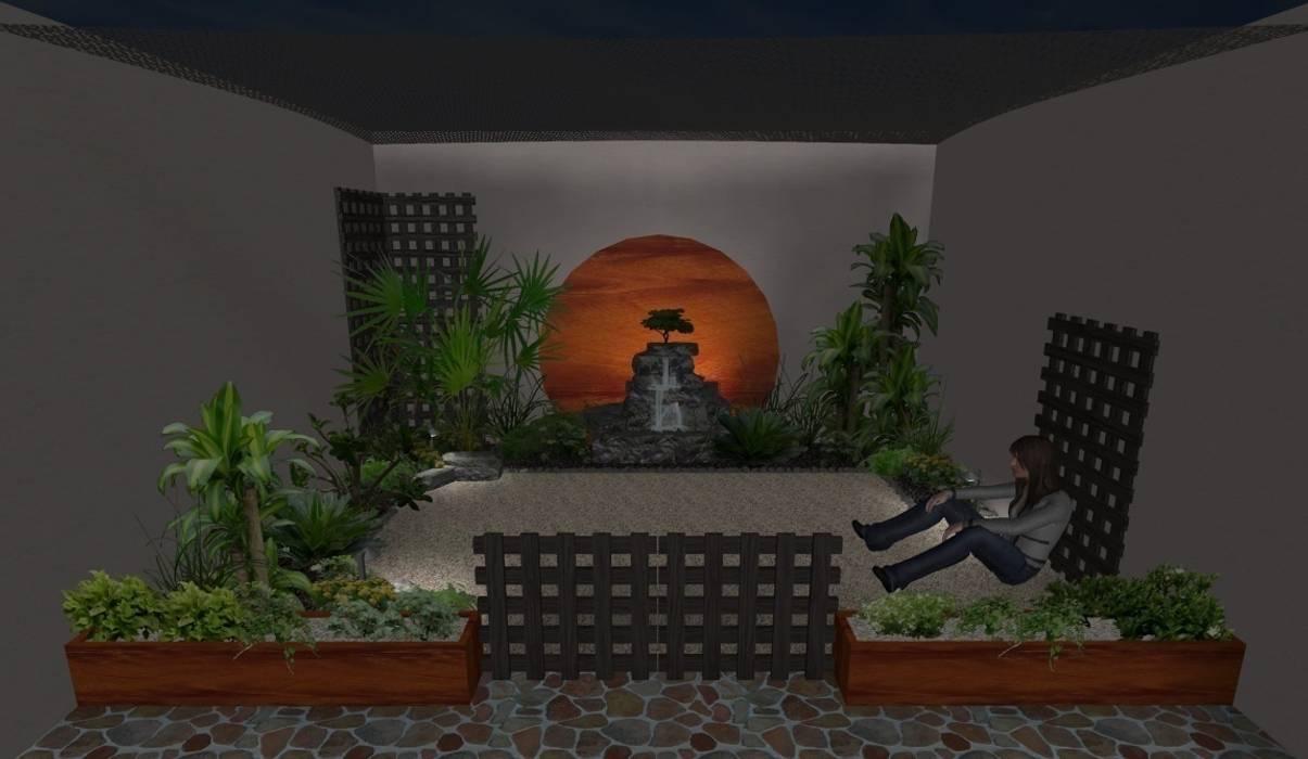 vista de noche Zen Ambient Jardines rústicos