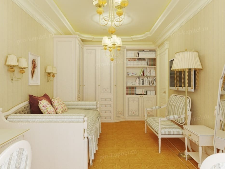 Дизайн интерьера детской комнаты для девочки: Детские комнаты в . Автор – Архитектурное Бюро 'Капитель'
