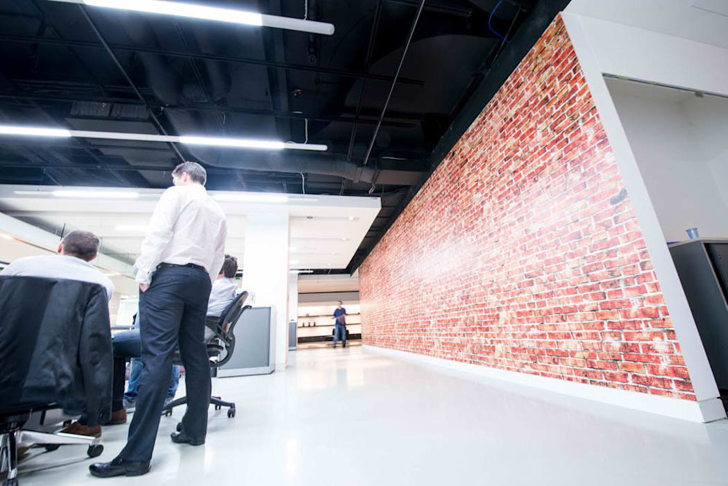 Faux Brick Wall Covering Wallpaper Design Office Buildings By Vinyl