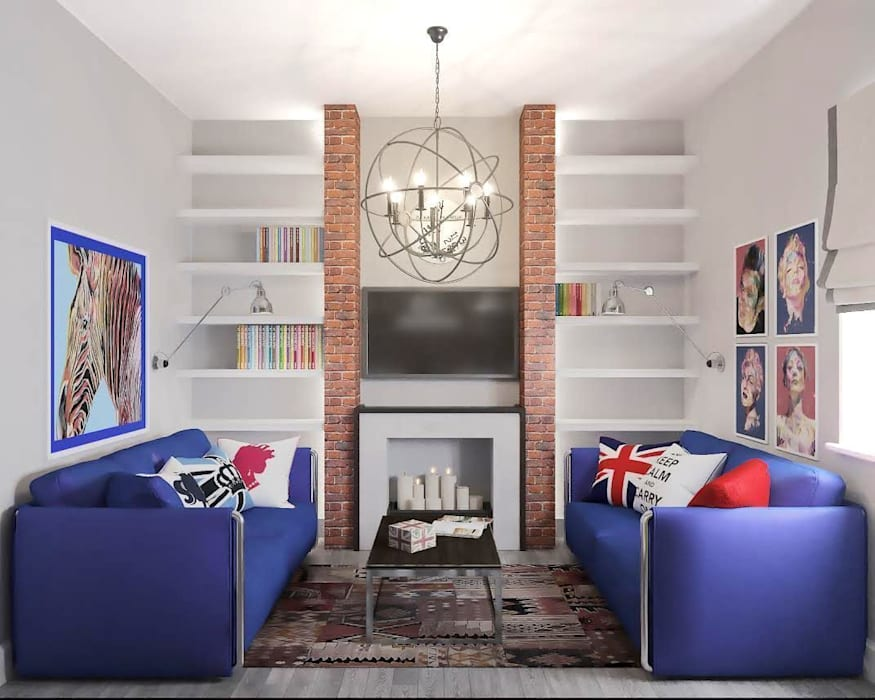 Квартира на ул. Мосфильмовская Гостиная в стиле лофт от Tina Gurevich Лофт