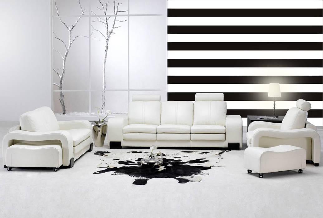 Tapeta w pasy poziome biało-czarna Nowoczesne ściany i podłogi od Dekoori Nowoczesny