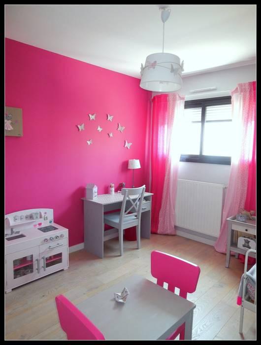 Chambre fushia et grise: chambre d\'enfant de style par scènes d ...
