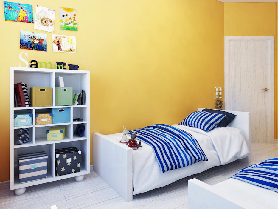 Детская комната для двух близнецов: Детские комнаты в . Автор – Оксана Мухина