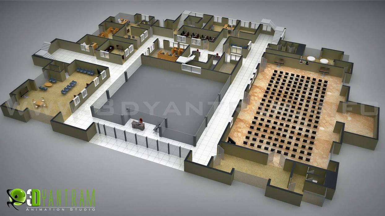 Commercial 3D Floor Plan by Yantram Architectural Design Studio