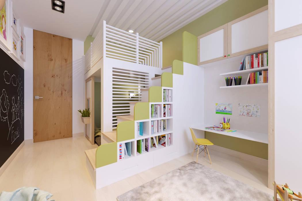 Детская комната с грифельной стеной Детская комнатa в стиле минимализм от IdeasMarket Минимализм