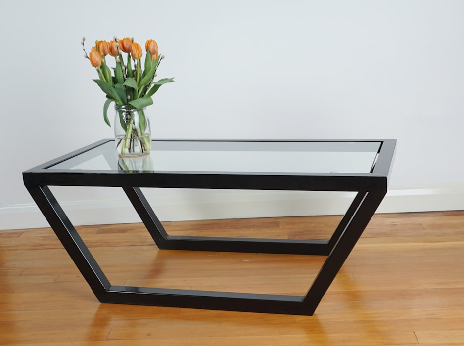 Glass and Steel Coffee Table par Urban Metalworks Moderne
