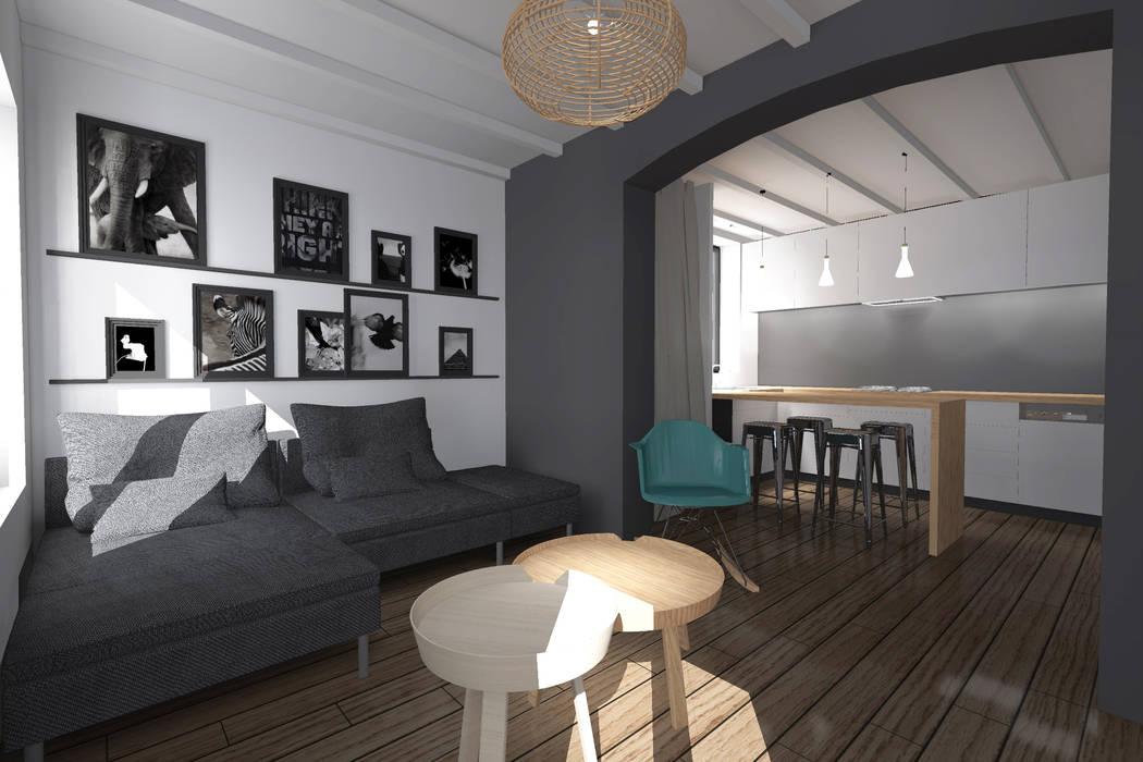 Restructuration complète d'une maison individuelle: Salon de style  par L&D Intérieur