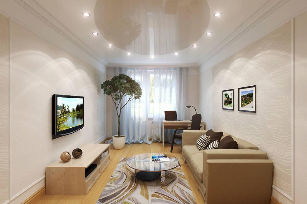 Интерьер квартиры с намеком на фэн-шуй Студия интерьера 'SENSE' Гостиные в эклектичном стиле