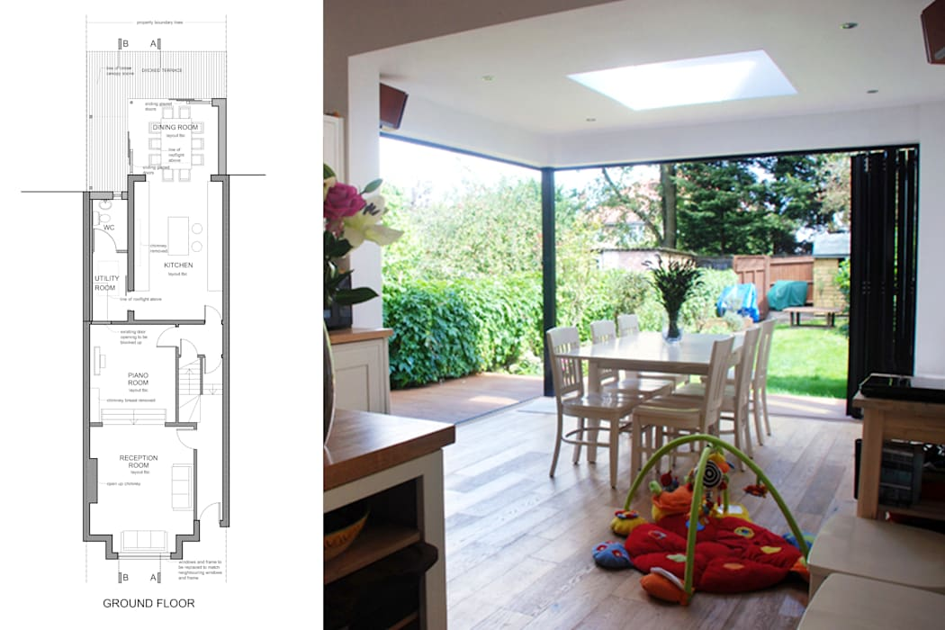 East Finchley, Barnet N2, London   House extension:  Dining room by GOAStudio   London residential architecture, Modern