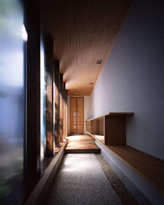 Eclectic style corridor, hallway & stairs by 飯塚建築工房 Eclectic