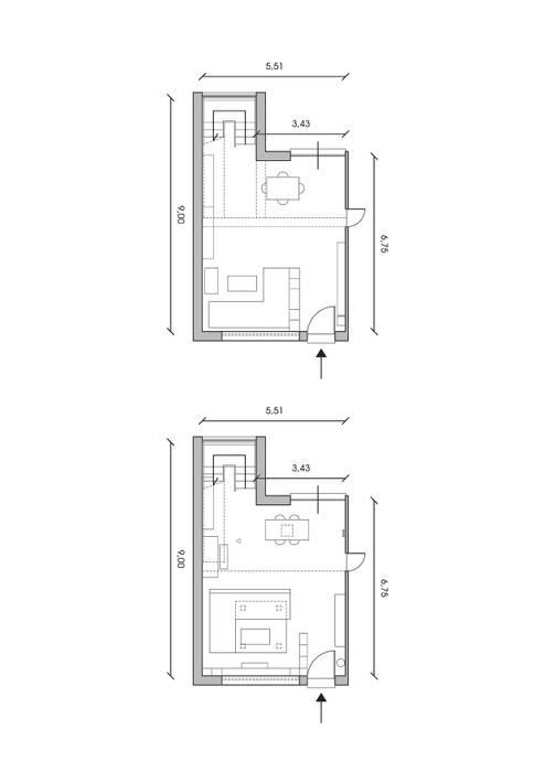 Vista in pianta (ANTE e POST-OPERAM): Soggiorno in stile in stile Moderno di Architetti StudiOppure