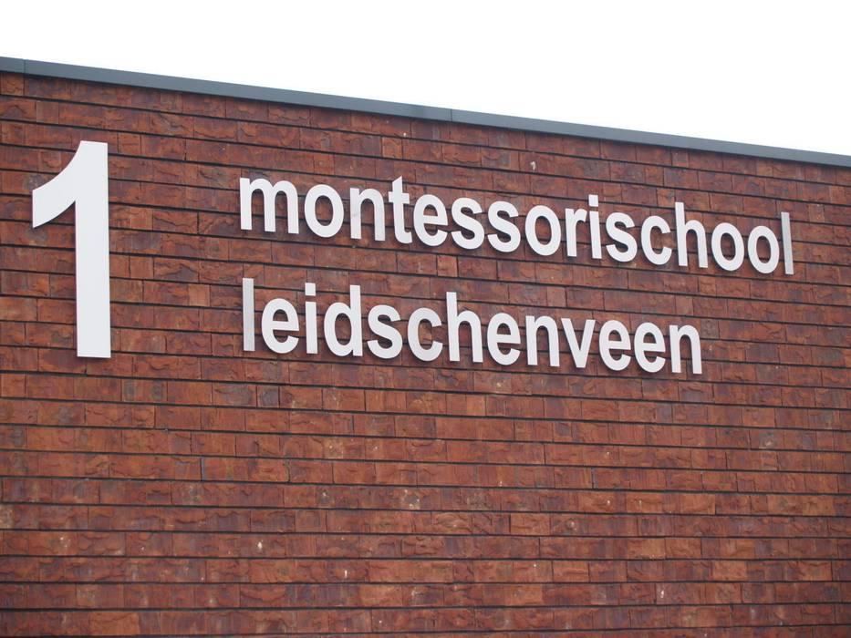 Gevelbelettering uit vlakke plaat Industriële scholen van Kouwenbergh Machinefabriek B.V. Industrieel