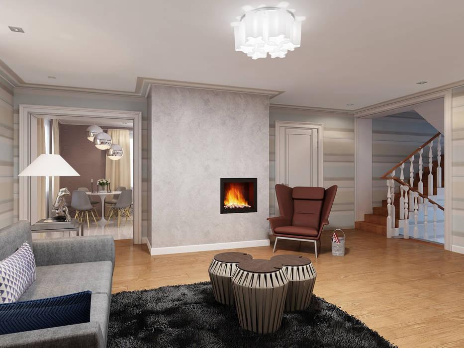 Дизайн загородного дома: Гостиная в . Автор – White & Black Design Studio, Модерн