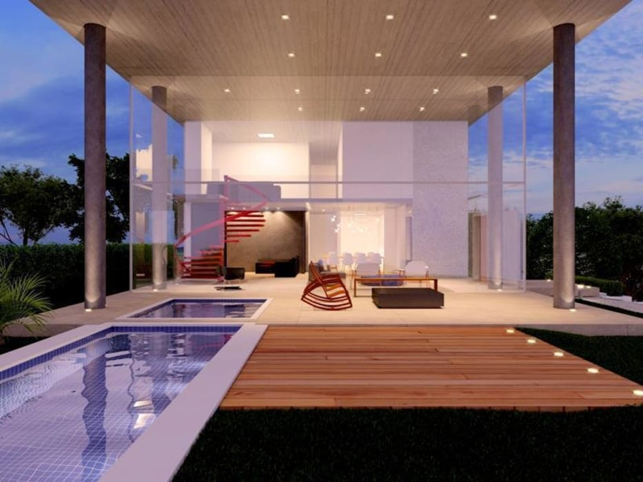 Balcones y terrazas de estilo minimalista de Aonze Arquitetura Minimalista Concreto