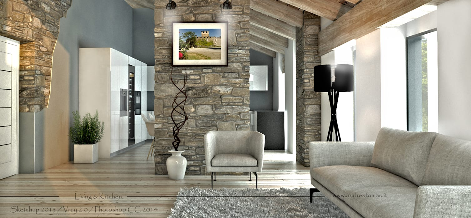 Casa di montagna: soggiorno in stile di tomas andres ...