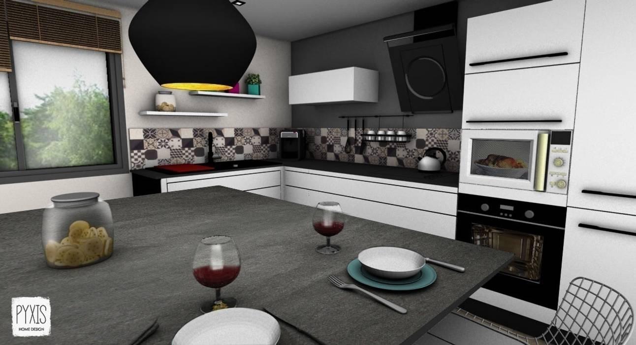 Cuisine ouverte avec îlot : Cuisine de style de style Moderne par PYXIS Home Design